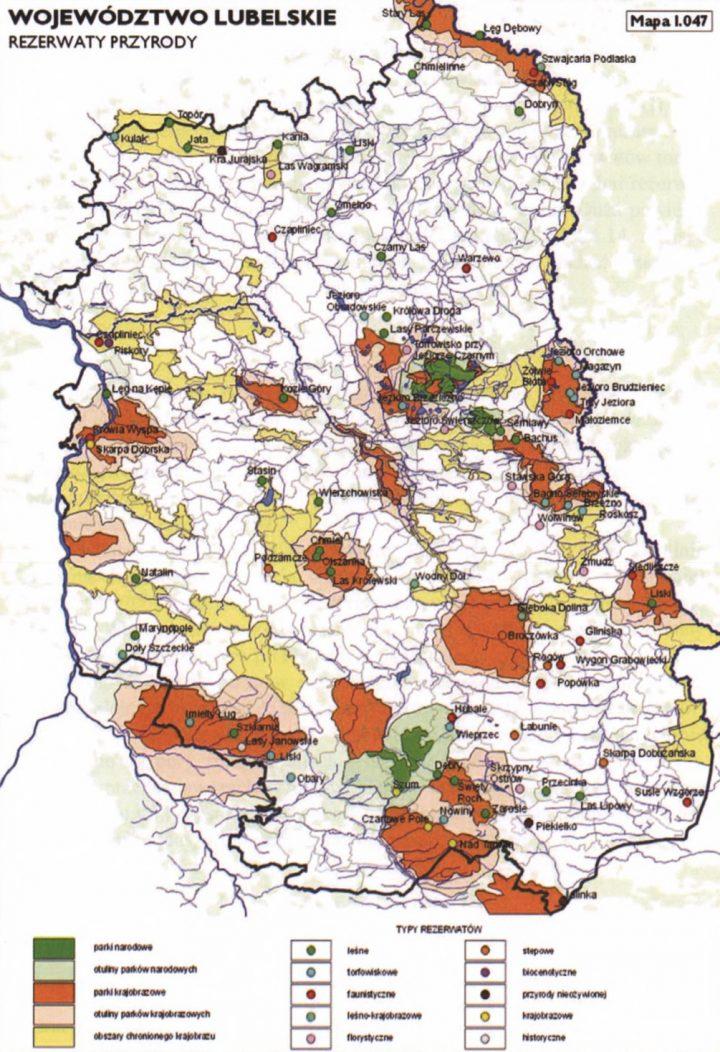 lubelskie rezerwaty przyrody - mapa